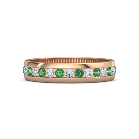 14k gold ring with emerald and sydney band
