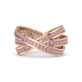 Round Pink Tourmaline 14K Rose Gold Ring with Pink Tourmaline
