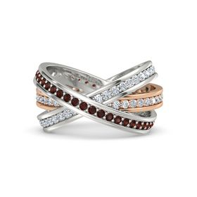 Round Red Garnet 14K Rose Gold Ring with Diamond
