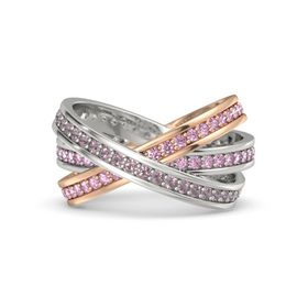 Round Rhodolite Garnet 14K White Gold Ring with Pink Sapphire