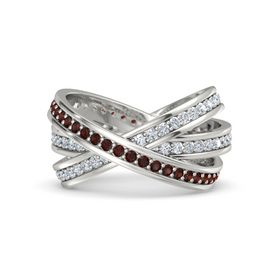 Round Red Garnet 14K White Gold Ring with Diamond