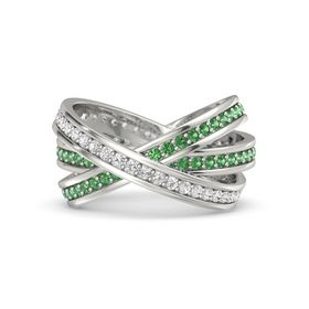 Round White Sapphire 14K White Gold Ring with Emerald