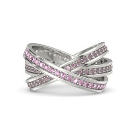 Round Pink Sapphire 14K White Gold Ring with Rhodolite Garnet
