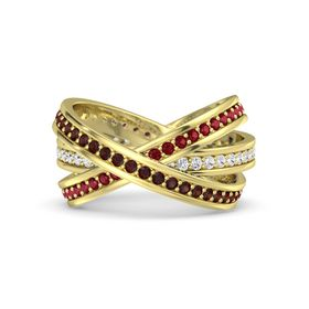 Round Red Garnet 14K Yellow Gold Ring with White Sapphire and Ruby