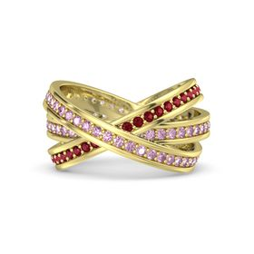 Round Pink Sapphire 14K Yellow Gold Ring with Pink Sapphire and Ruby