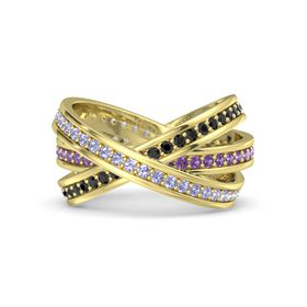 Round Tanzanite 14K Yellow Gold Ring with Amethyst and Black Diamond
