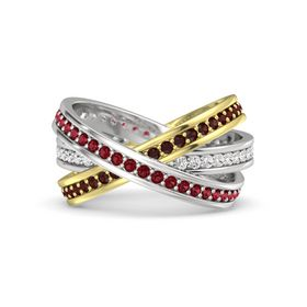 Round Ruby Sterling Silver Ring with White Sapphire and Red Garnet