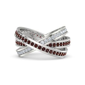 Round Red Garnet Sterling Silver Ring with Red Garnet and Diamond