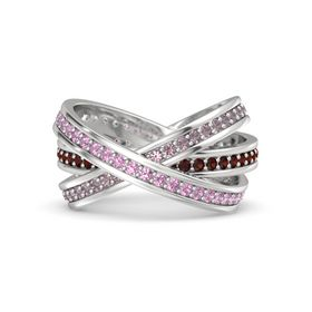 Round Pink Tourmaline Sterling Silver Ring with Red Garnet and Rhodolite Garnet