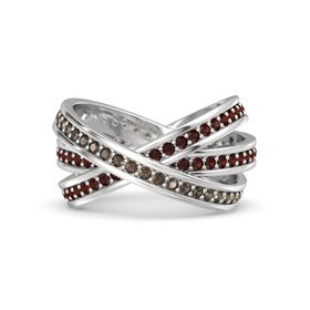 Round Smoky Quartz Sterling Silver Ring with Red Garnet