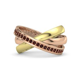 18K Rose Gold Ring with Red Garnet