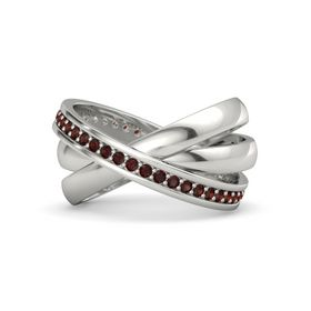 Palladium Ring with Red Garnet