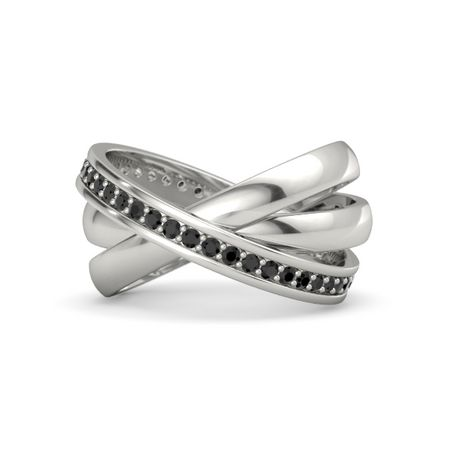 faa27d969fab6 Triple Rolling Rings - 14K White Gold Ring with Black Diamond