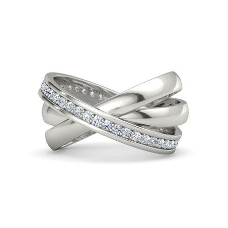 14k White Gold Ring With Diamond Triple Rolling Rings Gemvara