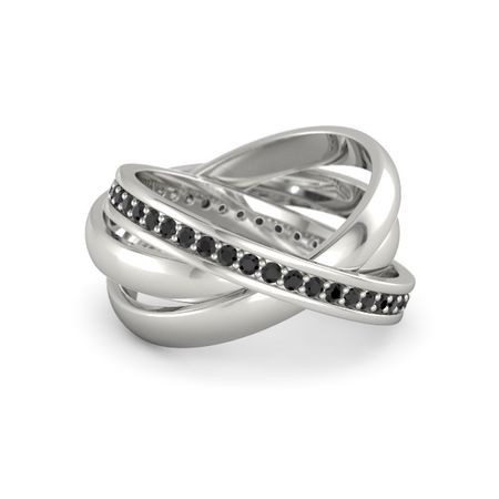 14K White Gold Ring with Black Diamond | Triple Rolling ...