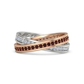 14K Rose Gold Ring with Red Garnet and Diamond