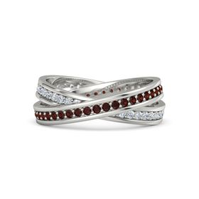 14K White Gold Ring with Red Garnet and Diamond