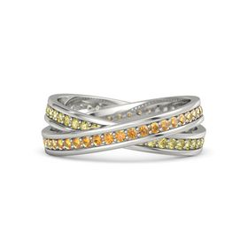 14K White Gold Ring with Citrine and Yellow Sapphire
