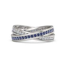 14K White Gold Ring with Sapphire & Diamond