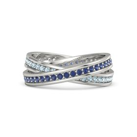14K White Gold Ring with Sapphire & Aquamarine