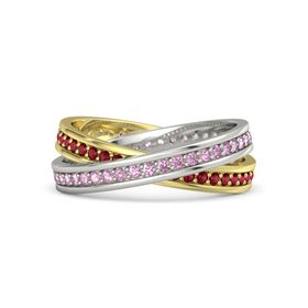 14K White Gold Ring with Pink Sapphire and Ruby
