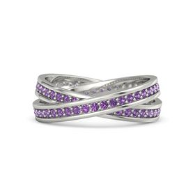 14K White Gold Ring with Amethyst