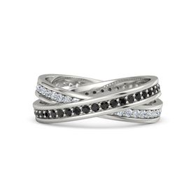 14K White Gold Ring with Black Diamond and Diamond