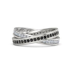 14K White Gold Ring with Black Diamond & Diamond