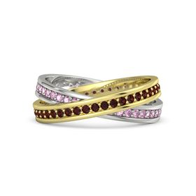 14K Yellow Gold Ring with Red Garnet and Pink Sapphire