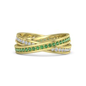 14K Yellow Gold Ring with Emerald & Diamond