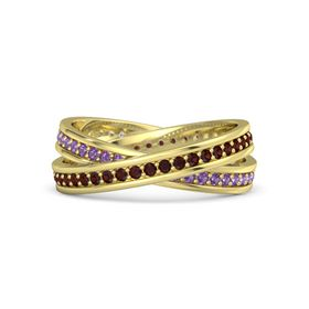 14K Yellow Gold Ring with Red Garnet and Amethyst