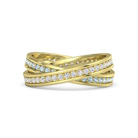 14K Yellow Gold Ring with White Sapphire and Aquamarine