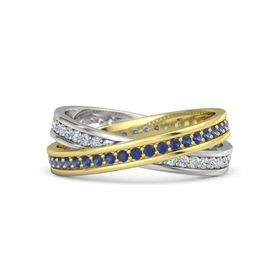 14K Yellow Gold Ring with Sapphire & Diamond