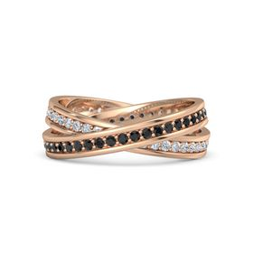 18K Rose Gold Ring with Black Diamond and Diamond