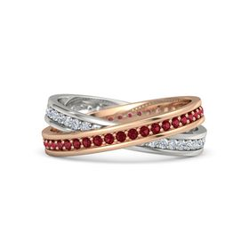 18K Rose Gold Ring with Ruby & Diamond