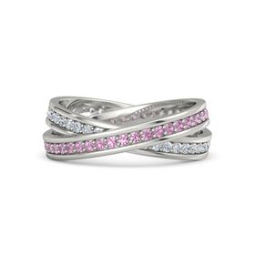 18K White Gold Ring with Pink Tourmaline and Diamond