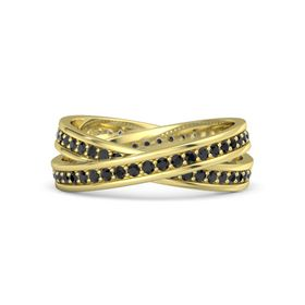 18K Yellow Gold Ring with Black Diamond