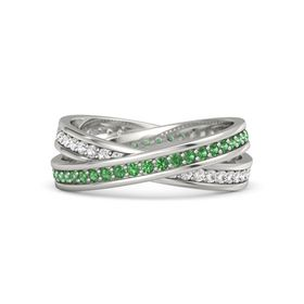 Palladium Ring with Emerald & White Sapphire