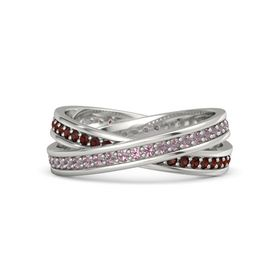 Palladium Ring with Rhodolite Garnet & Red Garnet