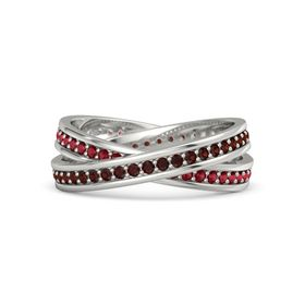 Platinum Ring with Red Garnet and Ruby