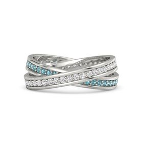 Platinum Ring with White Sapphire & London Blue Topaz