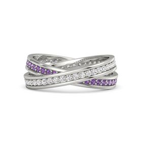 Platinum Ring with White Sapphire & Amethyst