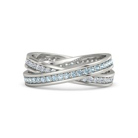 Platinum Ring with Aquamarine & Diamond