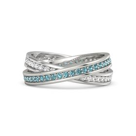 Platinum Ring with London Blue Topaz and White Sapphire
