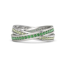 Platinum Ring with Emerald and Peridot