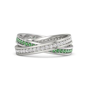 Platinum Ring with White Sapphire and Emerald