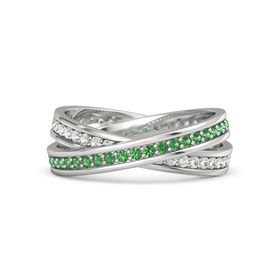 Sterling Silver Ring with Emerald and White Sapphire