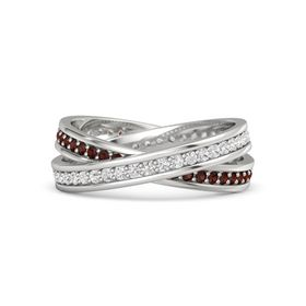 Sterling Silver Ring with White Sapphire and Red Garnet
