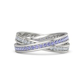 Sterling Silver Ring with Iolite & Diamond