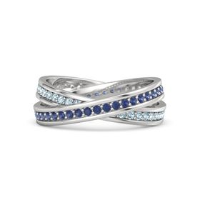 Sterling Silver Ring with Sapphire & Aquamarine